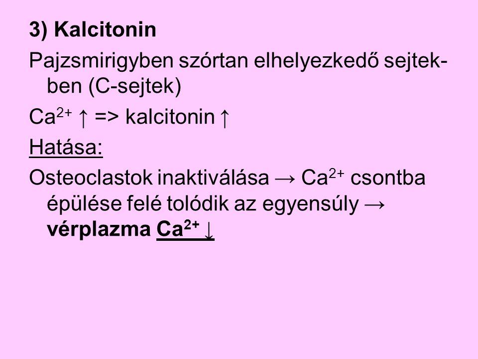 3) Kalcitonin Pajzsmirigyben szórtan elhelyezkedő sejtek-ben (C-sejtek) Ca2+ ↑ => kalcitonin ↑ Hatása: