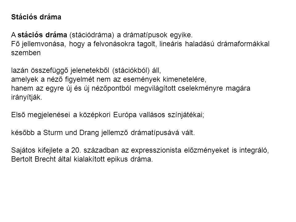 Stációs dráma A stációs dráma (stációdráma) a drámatípusok egyike.