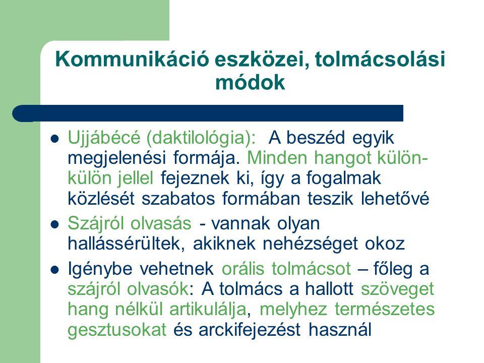 Kommunikáció eszközei, tolmácsolási módok