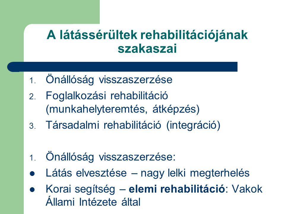 A látássérültek rehabilitációjának szakaszai