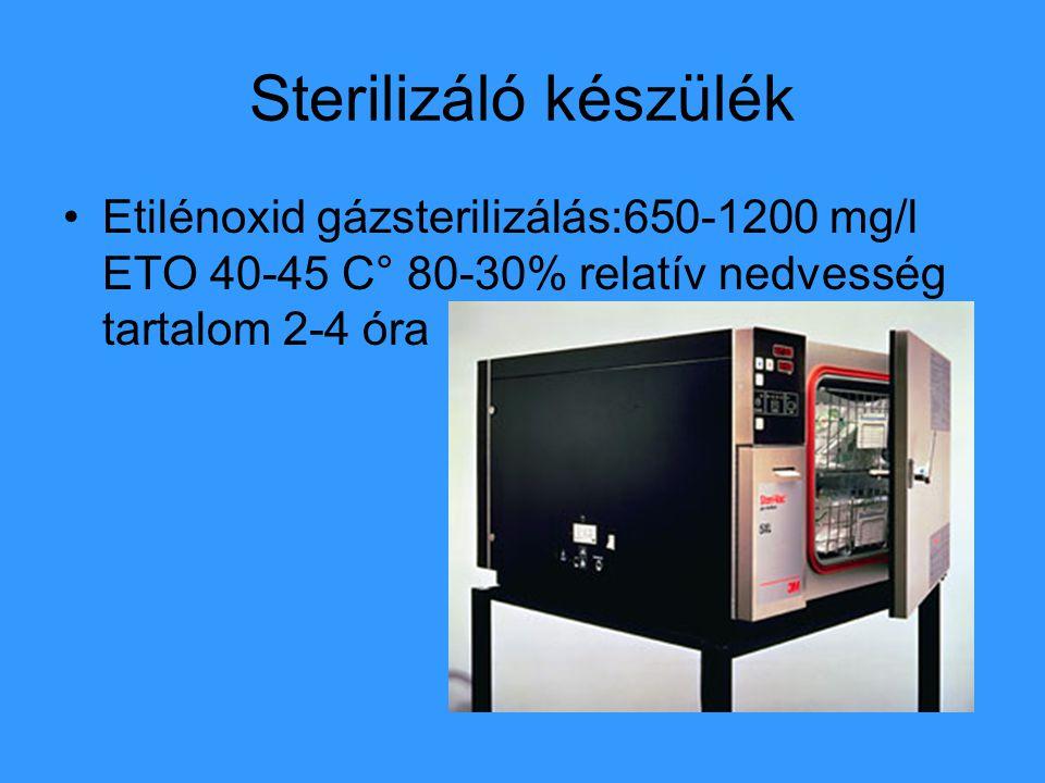 Sterilizáló készülék Etilénoxid gázsterilizálás:650-1200 mg/l ETO 40-45 C° 80-30% relatív nedvesség tartalom 2-4 óra.