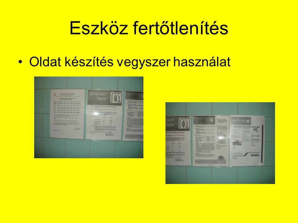 Eszköz fertőtlenítés Oldat készítés vegyszer használat