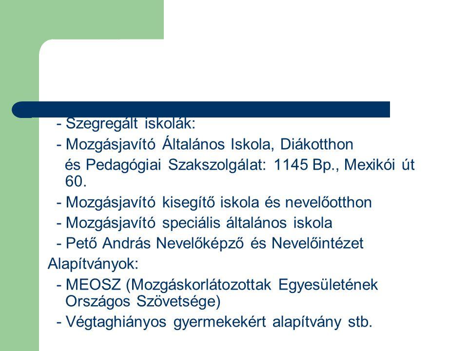 - Szegregált iskolák: - Mozgásjavító Általános Iskola, Diákotthon. és Pedagógiai Szakszolgálat: 1145 Bp., Mexikói út 60.
