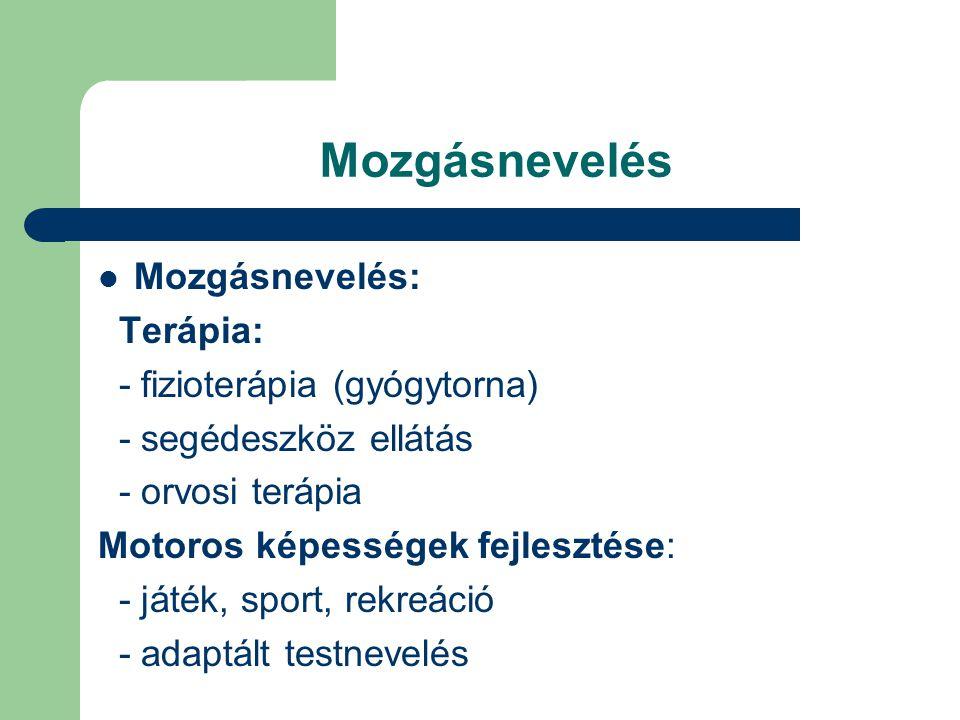 Mozgásnevelés Mozgásnevelés: Terápia: - fizioterápia (gyógytorna)