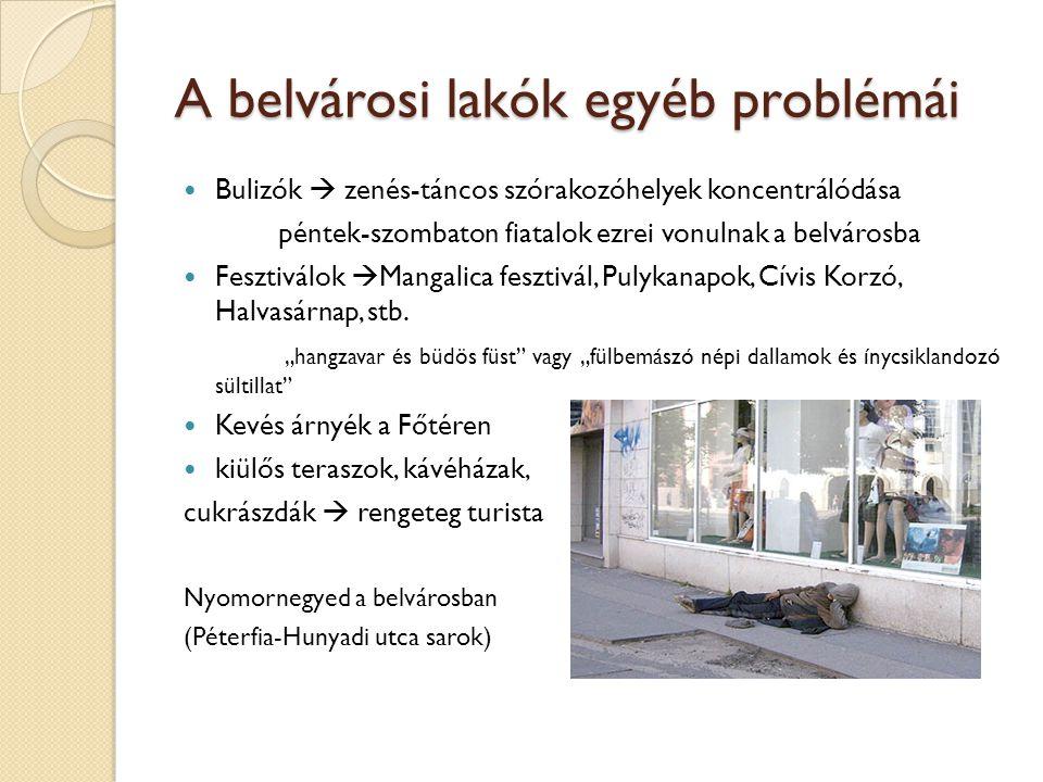 A belvárosi lakók egyéb problémái