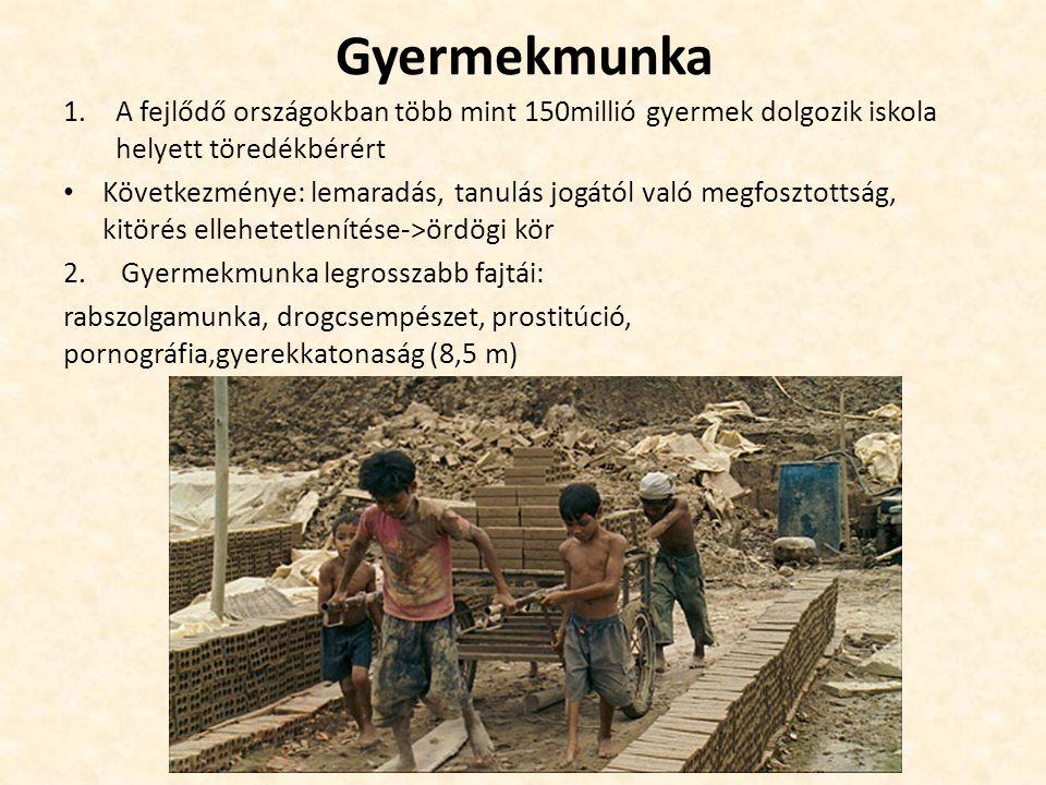 Gyermekmunka A fejlődő országokban több mint 150millió gyermek dolgozik iskola helyett töredékbérért.