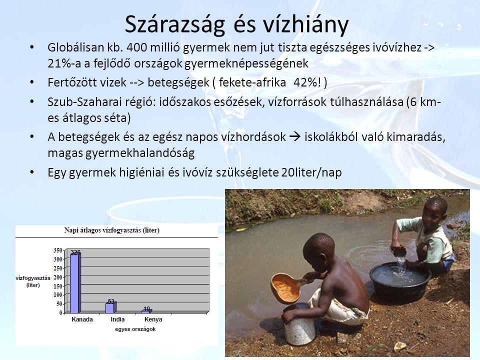 Szárazság és vízhiány Globálisan kb. 400 millió gyermek nem jut tiszta egészséges ivóvízhez -> 21%-a a fejlődő országok gyermeknépességének.