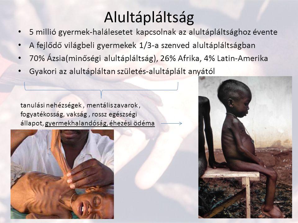 Alultápláltság 5 millió gyermek-halálesetet kapcsolnak az alultápláltsághoz évente. A fejlődő világbeli gyermekek 1/3-a szenved alultápláltságban.