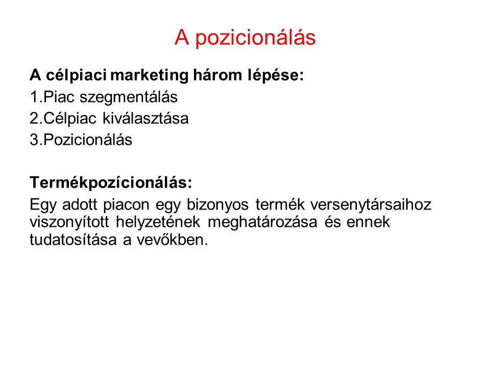 A pozicionálás A célpiaci marketing három lépése: Piac szegmentálás
