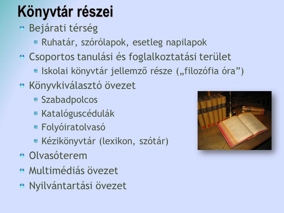 Könyvtár részei Bejárati térség