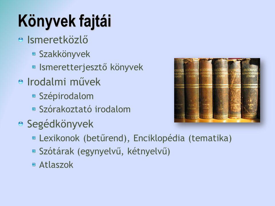 Könyvek fajtái Ismeretközlő Irodalmi művek Segédkönyvek Szakkönyvek