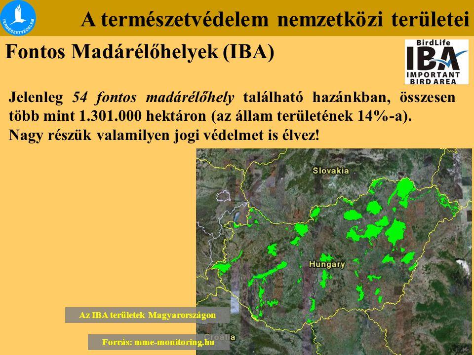 Az IBA területek Magyarországon Forrás: mme-monitoring.hu
