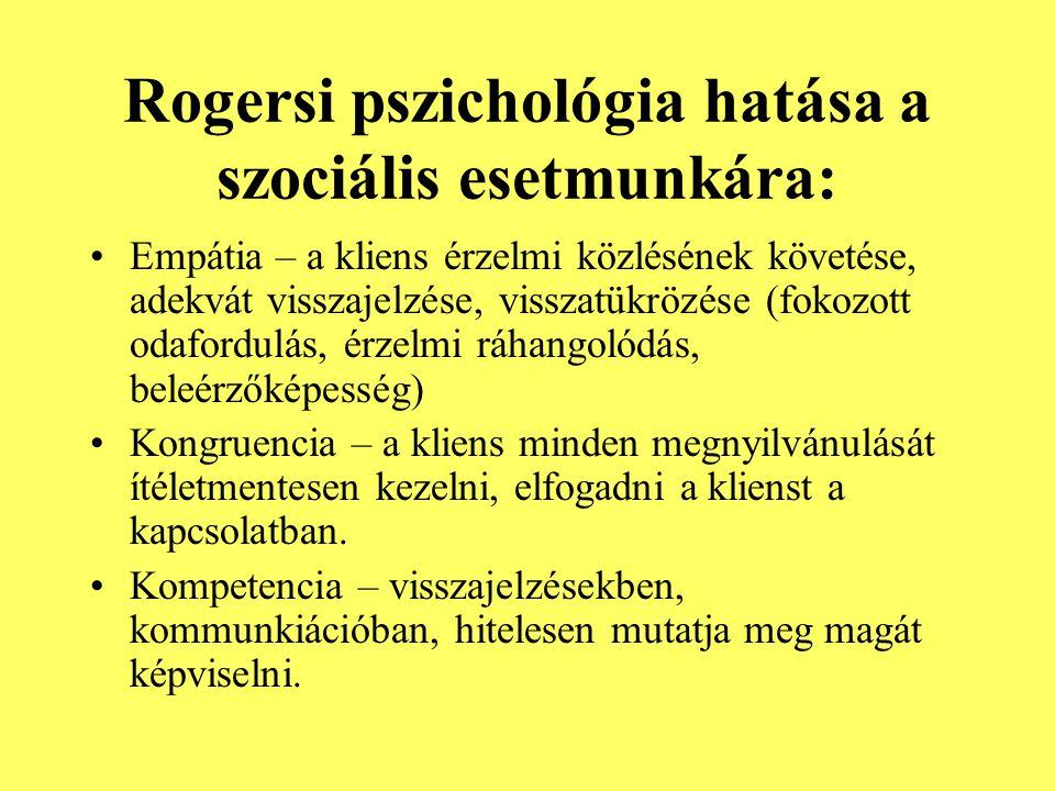 Rogersi pszichológia hatása a szociális esetmunkára: