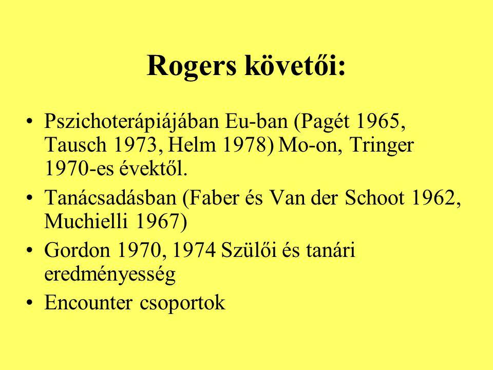 Rogers követői: Pszichoterápiájában Eu-ban (Pagét 1965, Tausch 1973, Helm 1978) Mo-on, Tringer 1970-es évektől.