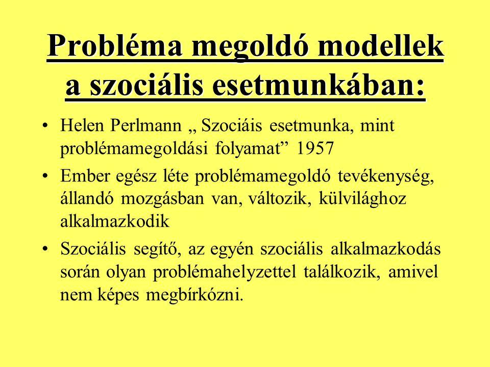 Probléma megoldó modellek a szociális esetmunkában: