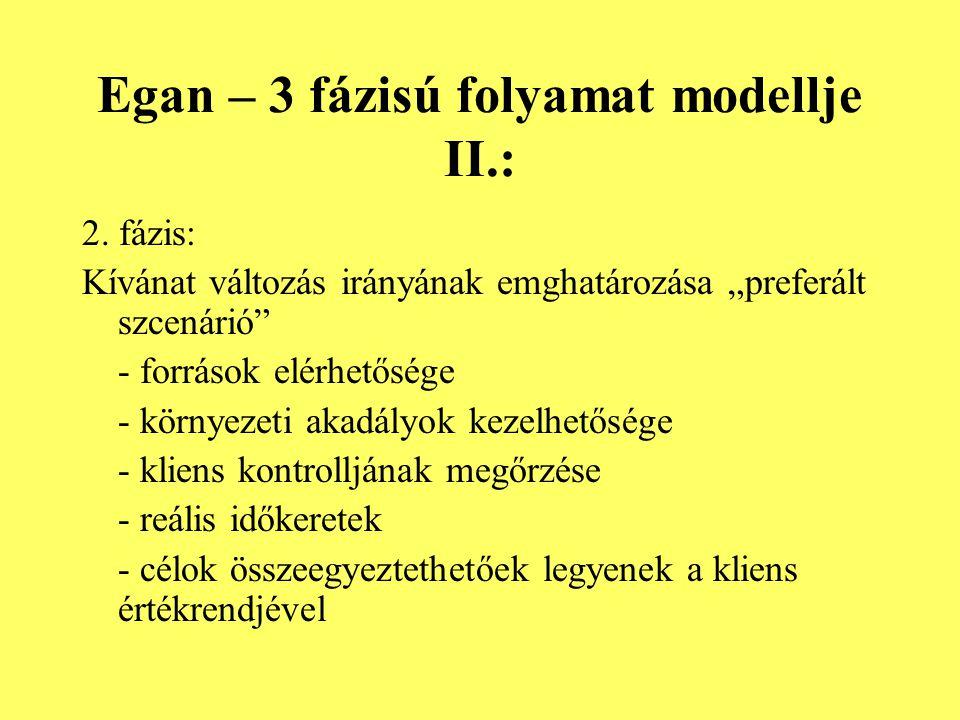 Egan – 3 fázisú folyamat modellje II.: