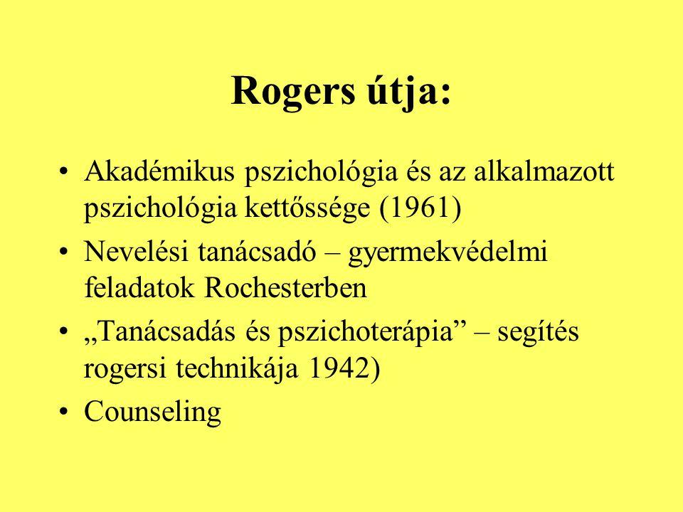 Rogers útja: Akadémikus pszichológia és az alkalmazott pszichológia kettőssége (1961) Nevelési tanácsadó – gyermekvédelmi feladatok Rochesterben.