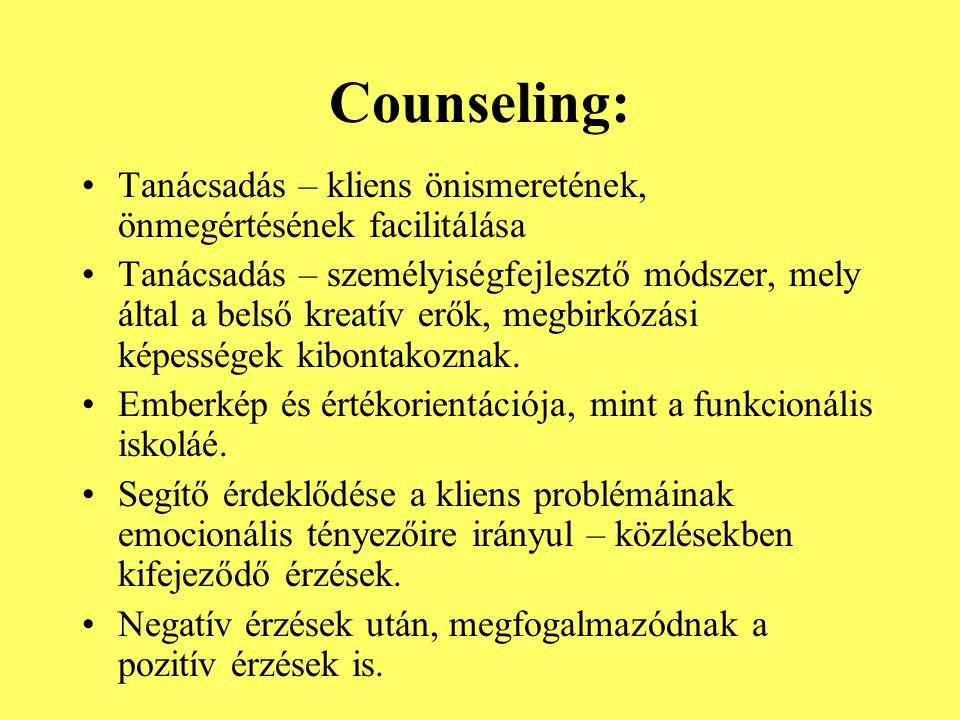 Counseling: Tanácsadás – kliens önismeretének, önmegértésének facilitálása.