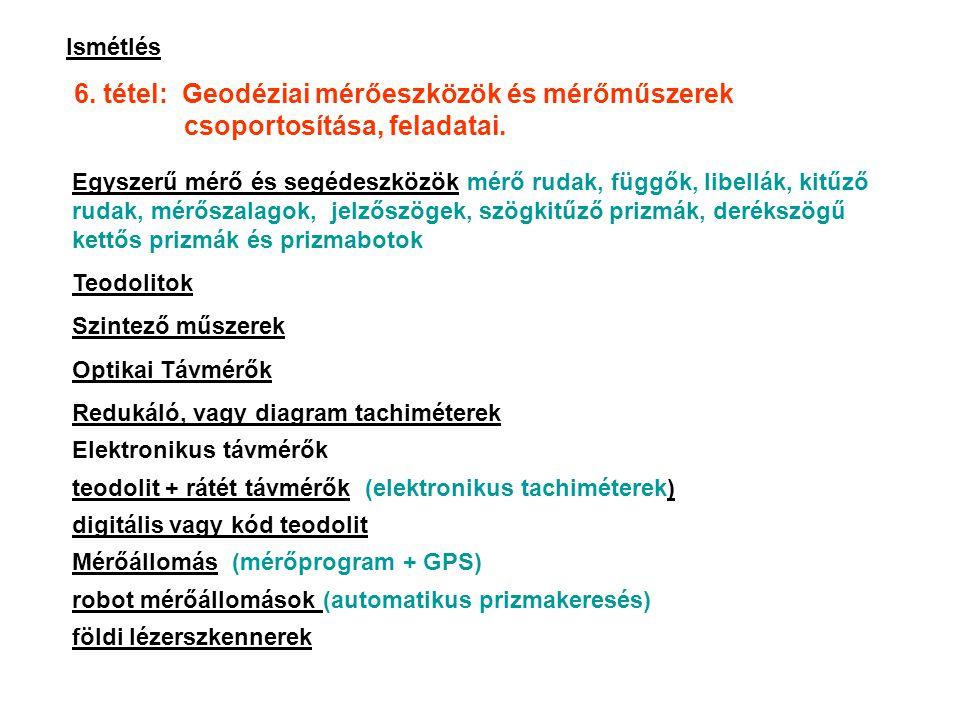 6. tétel: Geodéziai mérőeszközök és mérőműszerek