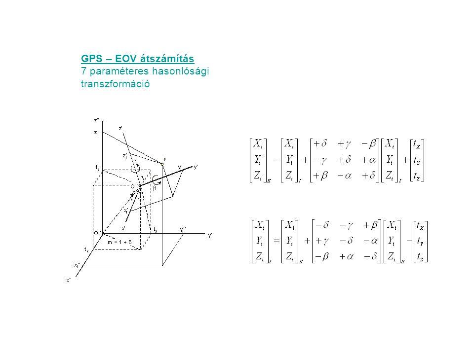 GPS – EOV átszámítás 7 paraméteres hasonlósági transzformáció