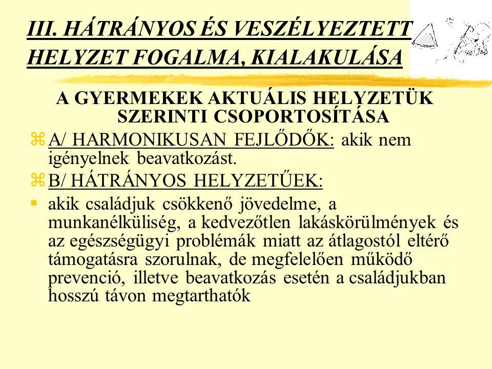 III. HÁTRÁNYOS ÉS VESZÉLYEZTETT HELYZET FOGALMA, KIALAKULÁSA