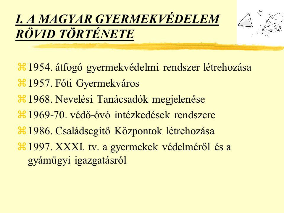 I. A MAGYAR GYERMEKVÉDELEM RÖVID TÖRTÉNETE