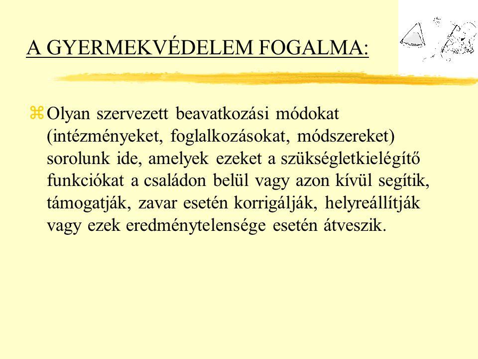 A GYERMEKVÉDELEM FOGALMA: