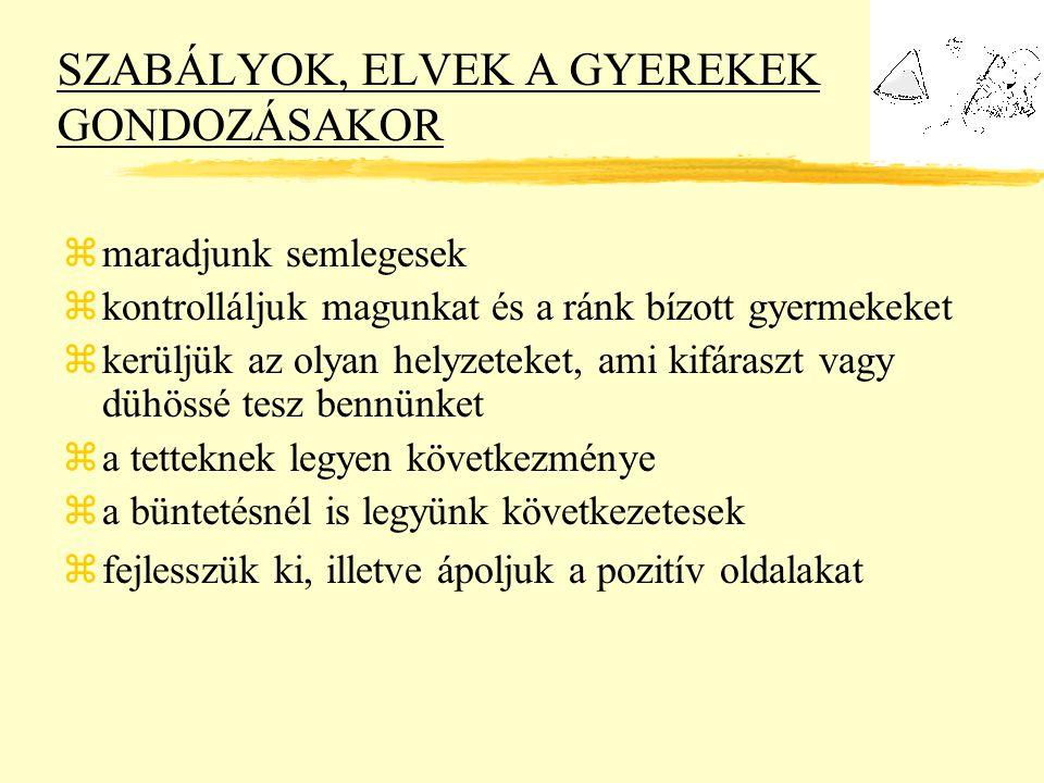 SZABÁLYOK, ELVEK A GYEREKEK GONDOZÁSAKOR