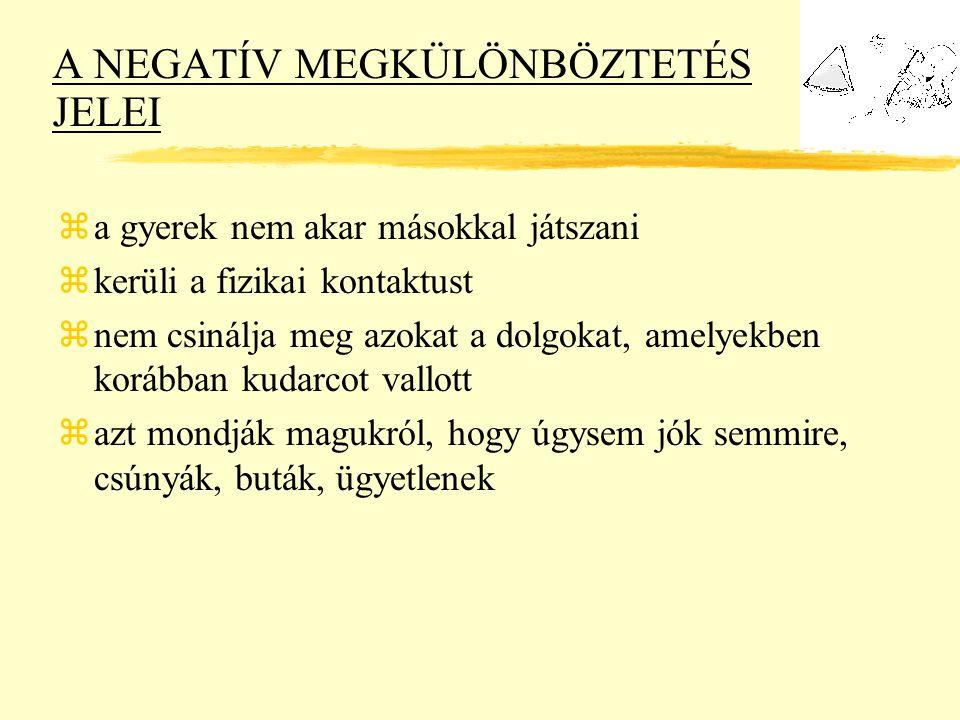 A NEGATÍV MEGKÜLÖNBÖZTETÉS JELEI