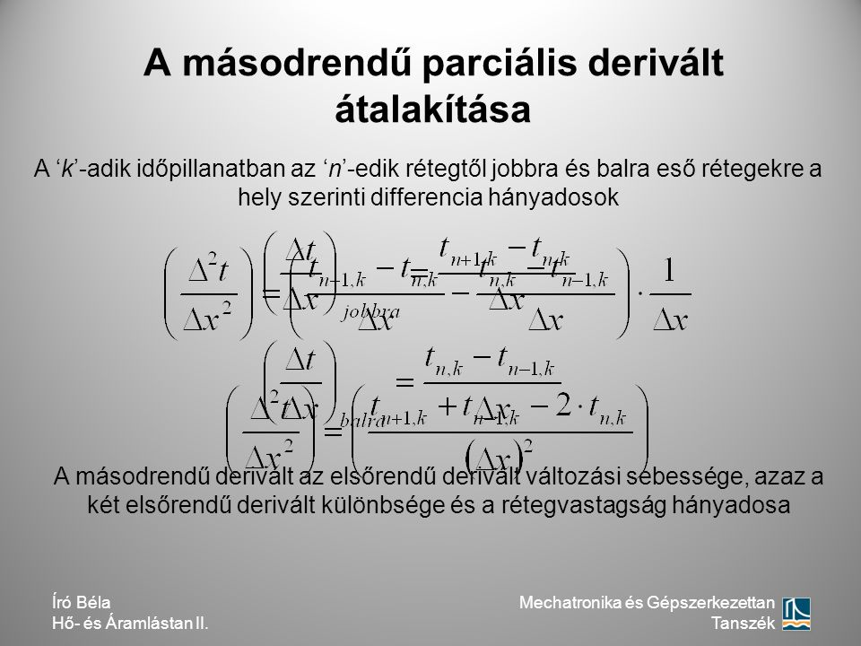 A másodrendű parciális derivált átalakítása