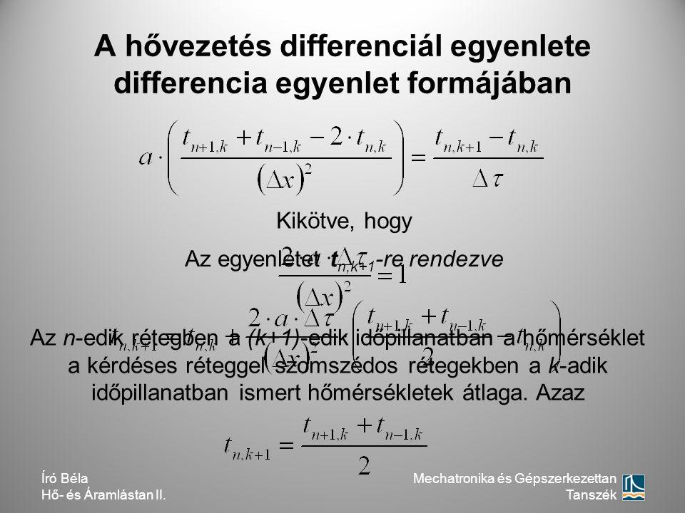 A hővezetés differenciál egyenlete differencia egyenlet formájában