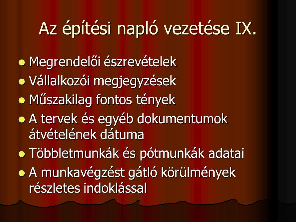 Az építési napló vezetése IX.