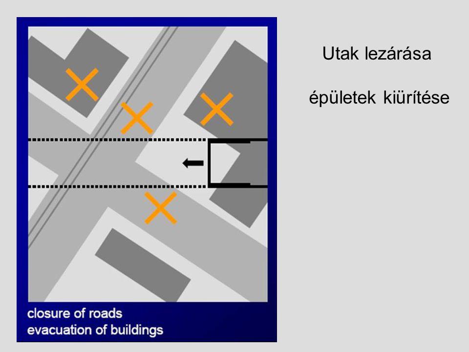 Utak lezárása épületek kiürítése