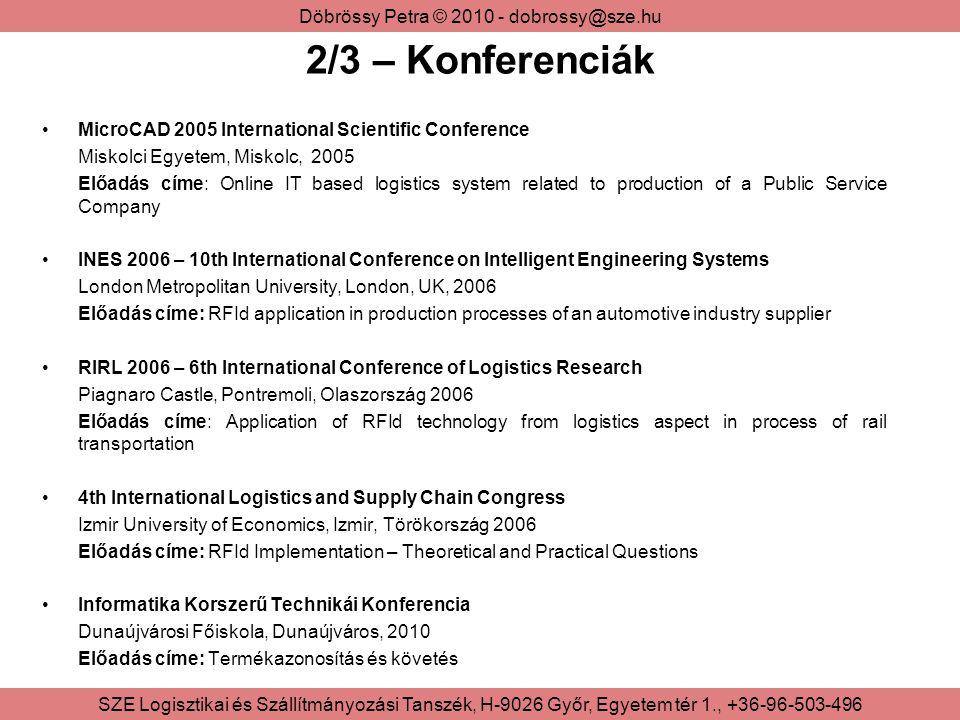 2/3 – Konferenciák MicroCAD 2005 International Scientific Conference