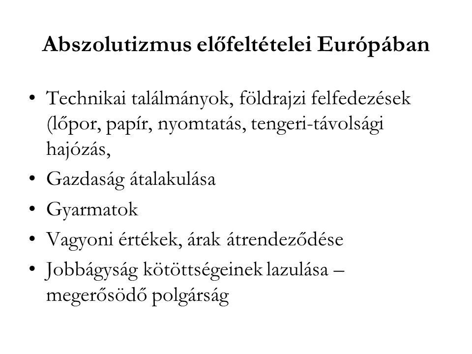Abszolutizmus előfeltételei Európában