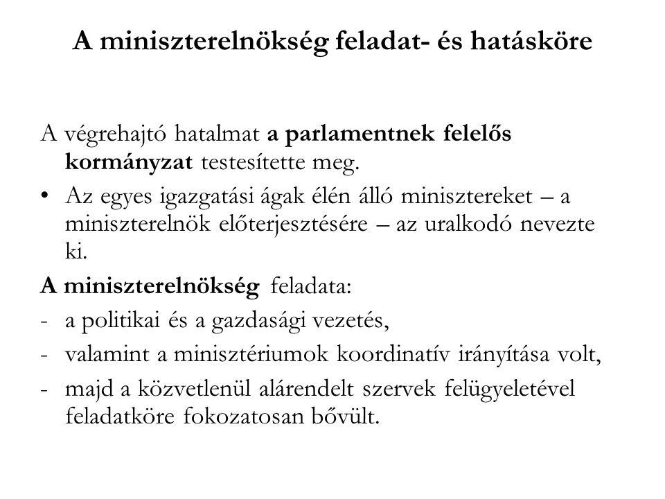 A miniszterelnökség feladat- és hatásköre