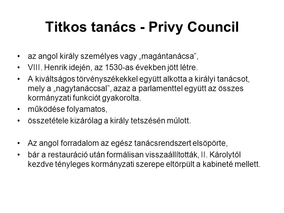 Titkos tanács - Privy Council