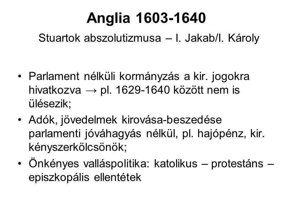 Anglia 1603-1640 Stuartok abszolutizmusa – I. Jakab/I. Károly