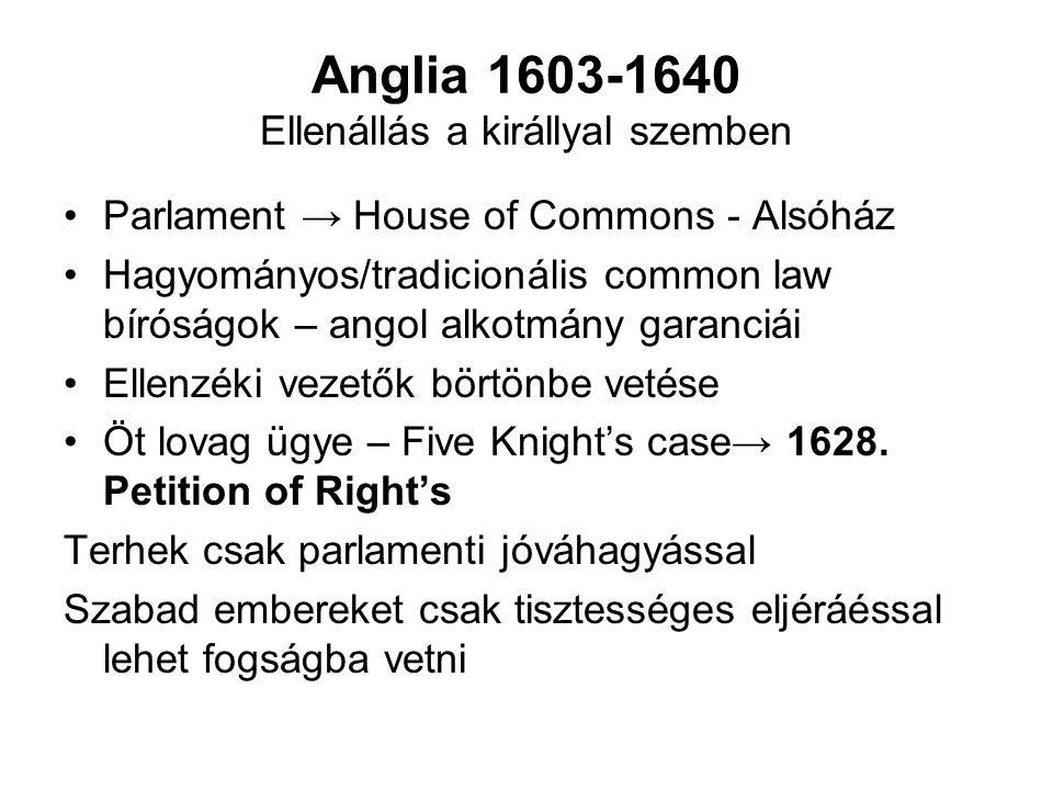 Anglia 1603-1640 Ellenállás a királlyal szemben