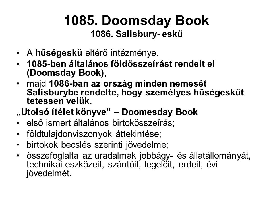 1085. Doomsday Book 1086. Salisbury- eskü
