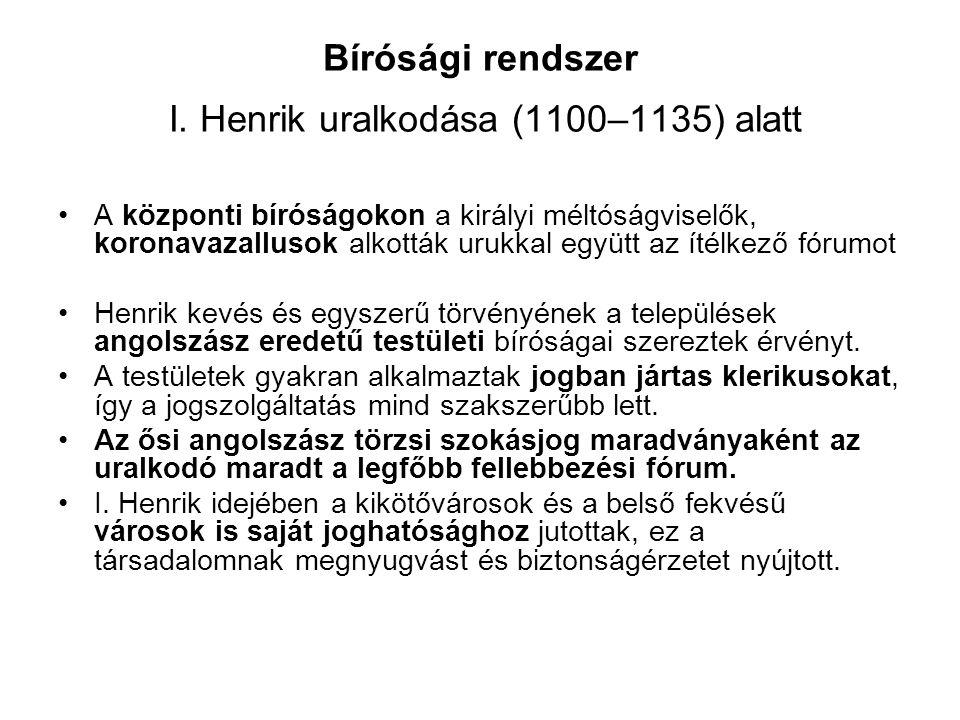 Bírósági rendszer I. Henrik uralkodása (1100–1135) alatt