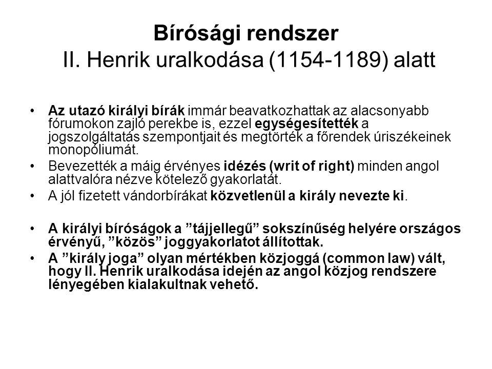 Bírósági rendszer II. Henrik uralkodása (1154-1189) alatt