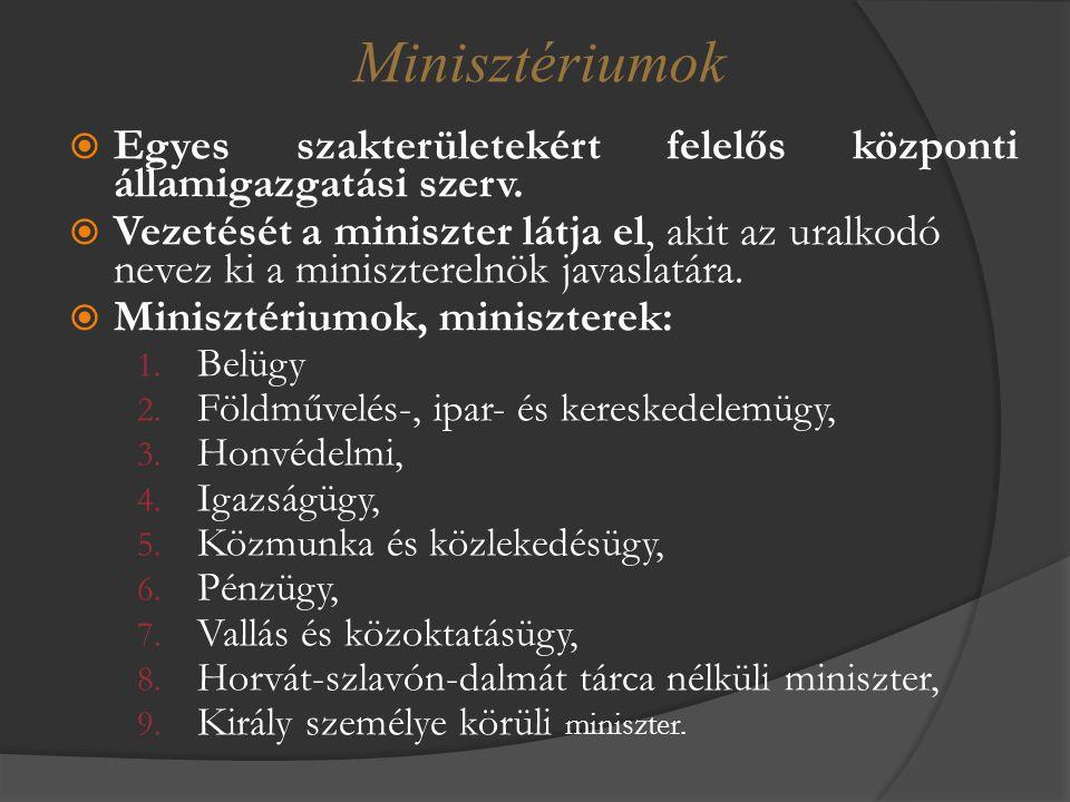 Minisztériumok Egyes szakterületekért felelős központi államigazgatási szerv.