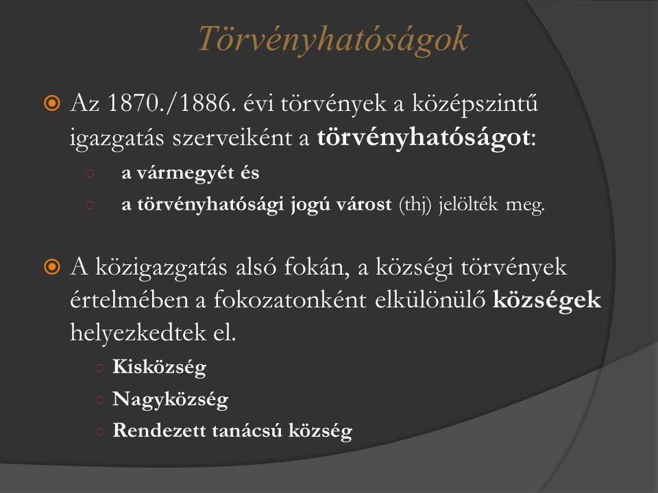 Törvényhatóságok Az 1870./1886. évi törvények a középszintű igazgatás szerveiként a törvényhatóságot: