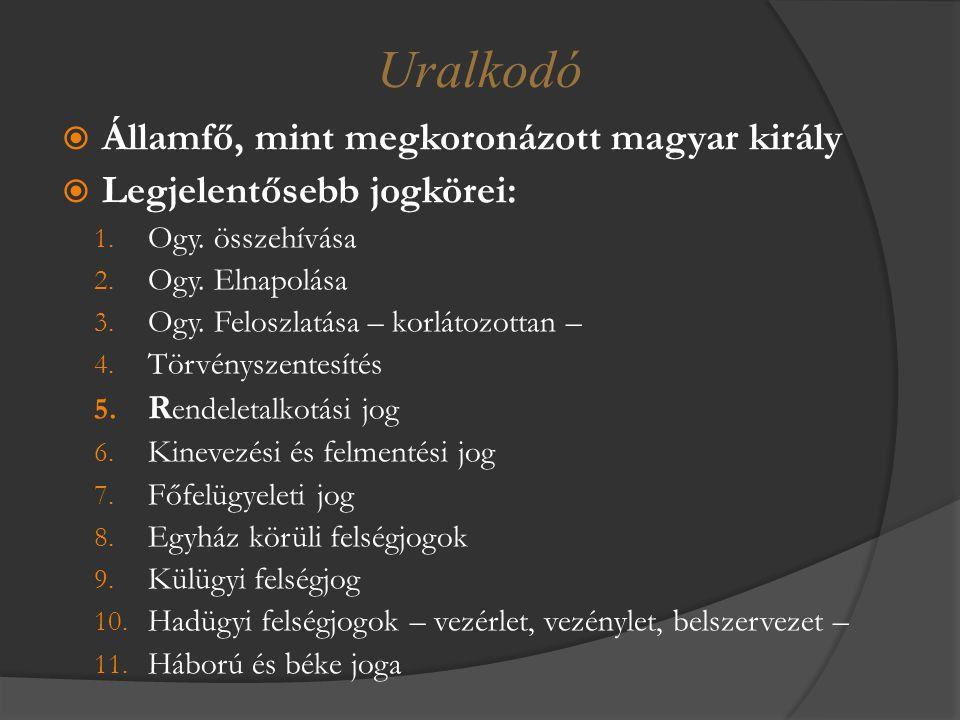 Uralkodó Államfő, mint megkoronázott magyar király