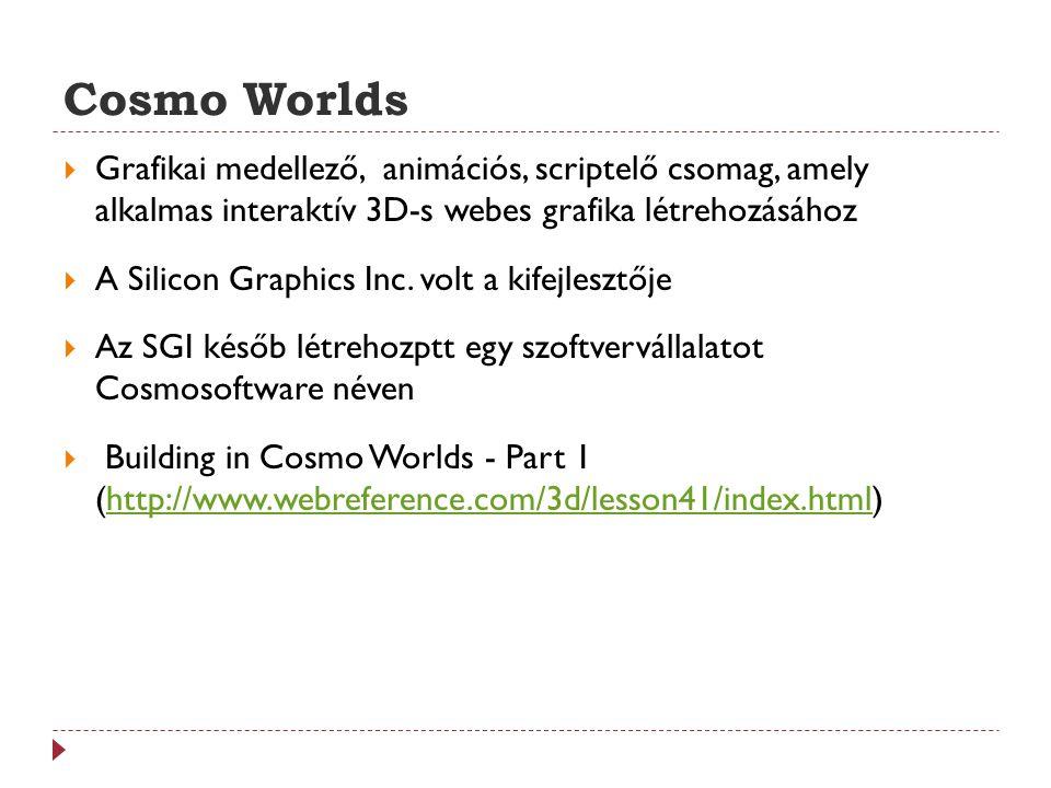 Cosmo Worlds Grafikai medellező, animációs, scriptelő csomag, amely alkalmas interaktív 3D-s webes grafika létrehozásához.