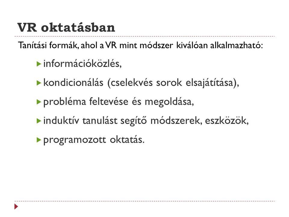 VR oktatásban információközlés,