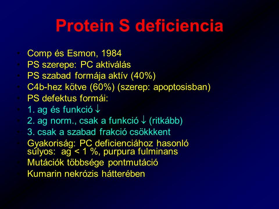 Protein S deficiencia Comp és Esmon, 1984 PS szerepe: PC aktiválás