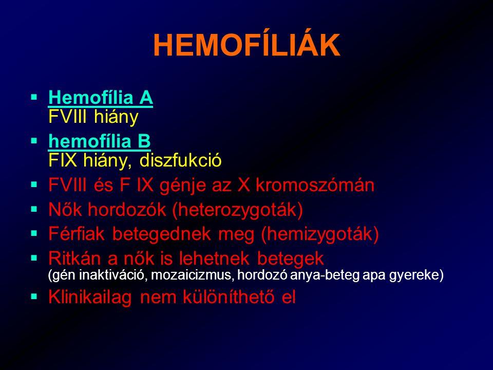 HEMOFÍLIÁK Hemofília A FVIII hiány hemofília B FIX hiány, diszfukció