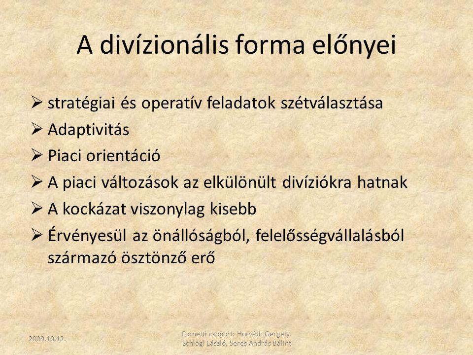 A divízionális forma előnyei